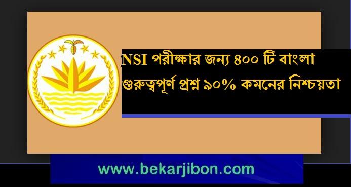 NSI পরীক্ষার জন্য ৪০০ টি বাংলা গুরুত্বপূর্ণ প্রশ্ন ৯০% কমনের নিশ্চয়তা
